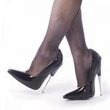 Černý Lakované 15 cm SCREAM-01 Lodičky Dámské Stiletto Podpatků