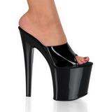 Černý Lesklý 19 cm TABOO-701 Pantofle na vysokém podpatku
