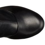 Černý Matná 15,5 cm DELIGHT-3000 Vysoké Kozačky Nad Kolena