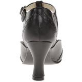Černý Matná 7,5 cm retro vintage FLAPPER-26 Vysoké lodičky na podpatky