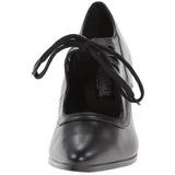 Černý Matná 7 cm retro vintage VICTORIAN-03 Vysoké lodičky na podpatky