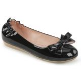 Černý OLIVE-03 balerínky ploché dámské boty s motýlek