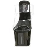 Černý Průhledný 18 cm SKY-302 Pantofle na vysokém podpatku