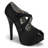 Černý Pruhovany 14,5 cm TEEZE-23 dámské boty na vysokém podpatku