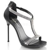 Černý Satén 11,5 cm CHIC-21 Dámské Sandály Podpatky