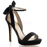 Černý Satén 12 cm LUMINA-25 Večerní Sandály s podpatkem