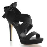 Černý Satén 12 cm LUMINA-29 Večerní Sandály s podpatkem