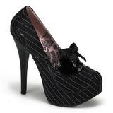 Černý Satén 14,5 cm Burlesque BORDELLO TEEZE-01 Platformě Lodičky Dámské
