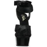 Černý Satén 15 cm DELIGHT-668 Večerní Sandály s podpatkem