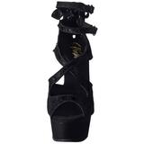 Černý Satén 15 cm Pleaser DELIGHT-678LC Vysoké Podpatky Platformě