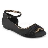 Černý Satén ANNA-03 velké velikosti baleríny boty