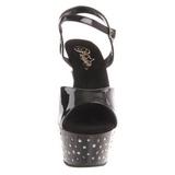 Černý Strass 15 cm STARDUST-609 dámské boty na vysokém podpatku