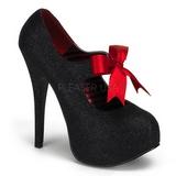 Černý Třpyt 14,5 cm Burlesque TEEZE-04G dámské boty na vysokém podpatku