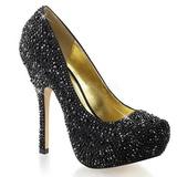 Černý Třpytivé Kamínky 13,5 cm FELICITY-20 dámské boty na podpatku