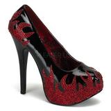 Černý Třpytivé Kamínky 14,5 cm Burlesque TEEZE-27 dámské boty na podpatku