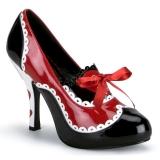 Černý Červený 10,5 cm QUEEN-03 dámské boty na vysokém podpatku