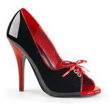 Černý Červený 12,5 cm SEDUCE-216 dámské boty na vysokém podpatku