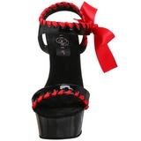 Černý Červený 15 cm DELIGHT-615 Stilettos Jehlové Podpatky