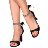 Černý kamínky 8,5 cm ROMANCE-372 sandály vysoký podpatek