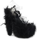 Černý peří marabu 18 cm ADORE-708F Boty pro tanec na tyči
