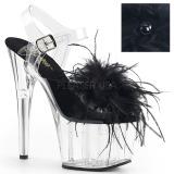 Černý peří marabu 18 cm ADORE-708MF Boty pro tanec na tyči