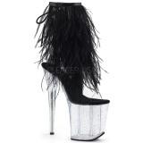 Černý peří marabu 20 cm FLAMINGO-1017MFF Boty pro tanec na tyči