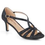 Černý třpyt 6,5 cm Fabulicious MISSY-03 dámské sandály na podpatku