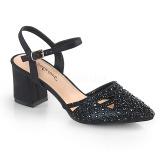 Černý třpyt 7 cm Fabulicious FAYE-06 dámské sandály na podpatku