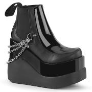 Černý veganské boots 13 cm VOID-50 demonia kozačky na klínku