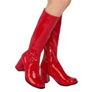 Červené lakované kozačky blokový podpatek 7,5 cm - 70 léta hippie disco gogo - kozačky pod kolena