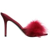 Červený 10 cm CLASSIQUE-01F pantoflicky dámské s peří marabu