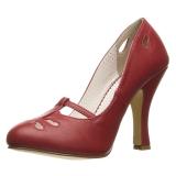 Červený 10 cm SMITTEN-20 Pinup lodičky boty s nízkým podpatkem