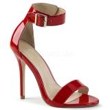 Červený 13 cm Pleaser AMUSE-10 dámské sandály na podpatku