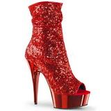 Červený 15 cm DELIGHT-1008SQ kotnikové kozačky s flitry na podpatku