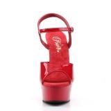 Červený 15 cm DELIGHT-609 pleaser vysoké podpatky na platformě