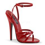 Červený 15 cm DOMINA-108 fetiš boty na podpatku