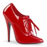 Červený 15 cm DOMINA-460 oxford boty na vysoké podpatky