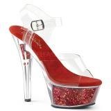 Červený 15 cm KISS-208GF třpyt sandaly na platformě a podpatku