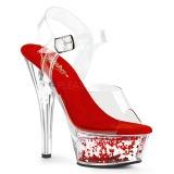 Červený 15 cm KISS-208WHG třpyt sandaly na platformě a podpatku