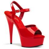 Červený 15 cm Pleaser DELIGHT-609 Vysoké Podpatky Platformě