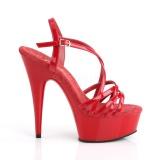 Červený 15 cm Pleaser DELIGHT-613 Sandály na vysokém podpatku
