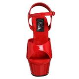 Červený 15 cm Pleaser KISS-209 Vysoké Podpatky Platformě