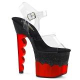 Červený 18 cm SCALLOP-708-2HGM Hologram boty na platformě a podpatku