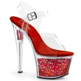 Červený 18 cm SKY-308GF třpyt sandaly na platformě a podpatku
