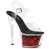 Červený 18 cm SKY-308WHG třpyt boty na platformě a podpatku