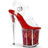 Červený 20 cm FLAMINGO-808GF třpyt boty na platformě a podpatku