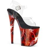 Červený 20 cm FLAMINGO-808STORM Hologram boty na platformě a podpatku