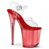 Červený 20 cm FLAMINGO-808T Akryl Platformě Sandály Podpatky