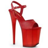 Červený 20 cm FLAMINGO-809T Akryl boty na platformě a podpatku