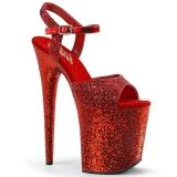 Červený 20 cm FLAMINGO-810LG třpyt boty na platformě a podpatku